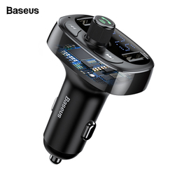 Baseus FM Transmitter Aux Modulator Bluetooth Car Charger Kit Handsfree Audio MP3 Player 3.4A Dual USB Fast Mobile Phone Charger