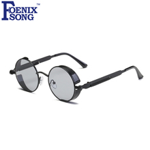 FOENIXSONG Vintage Steampunk Hombres gafas de Sol Redondas Mujeres Negro Marco Retro Gafas de Sol Espejo Gafas de Sol Mujer Oculos Masculino