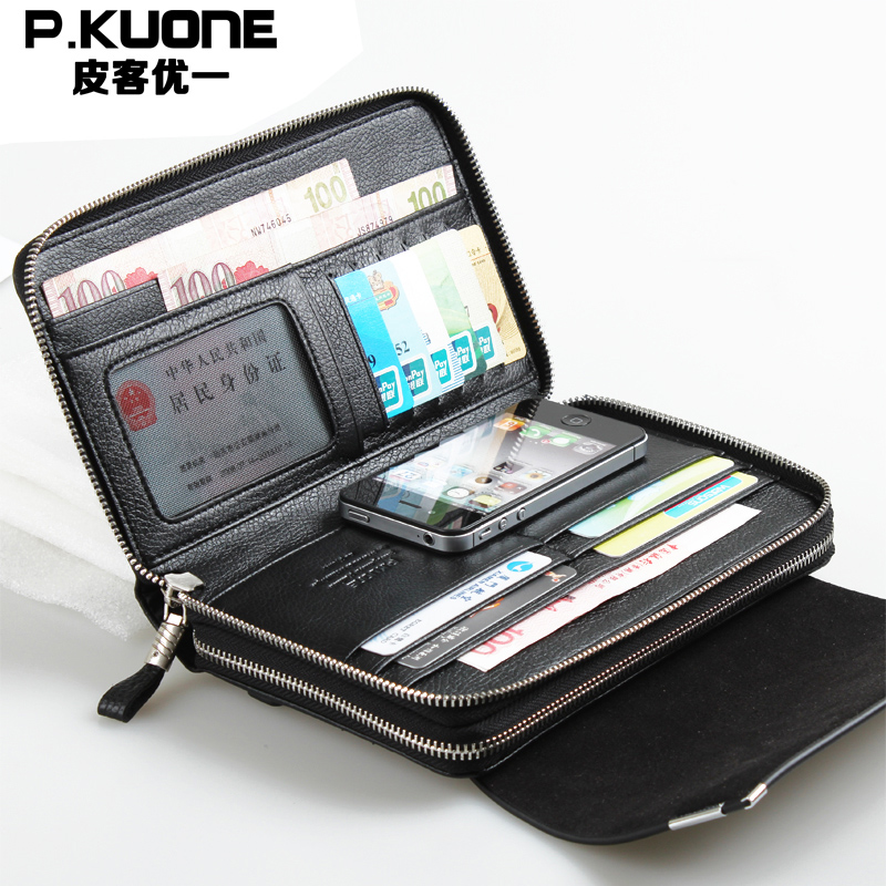 P.kuone Business Double Zipper Genuine leather Men Day Clutch Bag/Fashion Handbag Large Cowhide Leather Wallet Top Brand Design