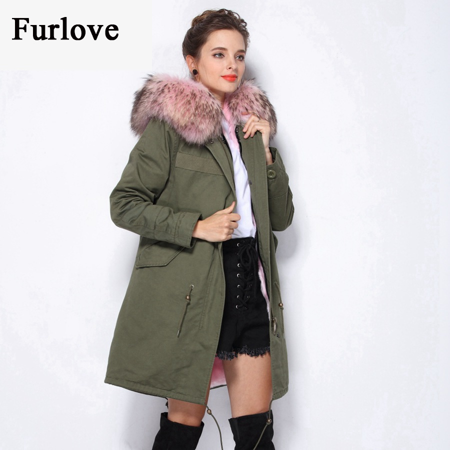 Women's Parka Real Raccoon Fur Collar Hooded Parkas Black Camouflage Thick Warm Casual Fur Coat Female Winter Jacket Women Coats red stripe fur inside male coats winter wear keen warm elegant real raccoon fur collar cashmere fur parka