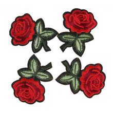 5Pcs Rose Flower Embroidery Patches Iron On DIY Embroidered Appliques Patches Stickers for Clothes Embroidered Sewing Fabric