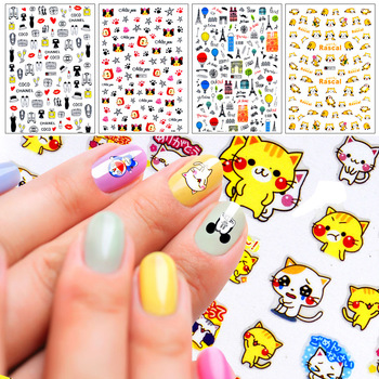 10 Sheets High Quality Ultra Thin Decals Cute Caton 3D Nail Art Stickers Patch Decorations For DIY Manicure Salon