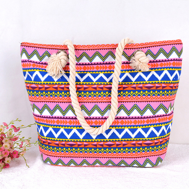 New arrival Lunch bag Big Bag Handbag Women stripe Canvas Bags Bohemia Beach Tote Shoulder Bags Women Canvas Handbags