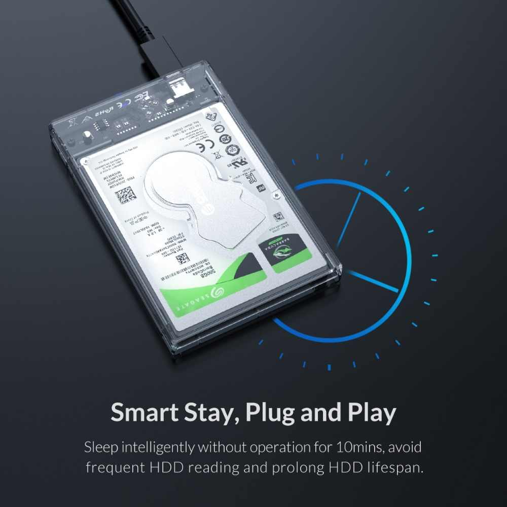 """Carcasa de disco duro ORICO 2,5 """"SATA a USB 3,1 C con soporte para disco SSD HDD caja transparente carcasa externa"""
