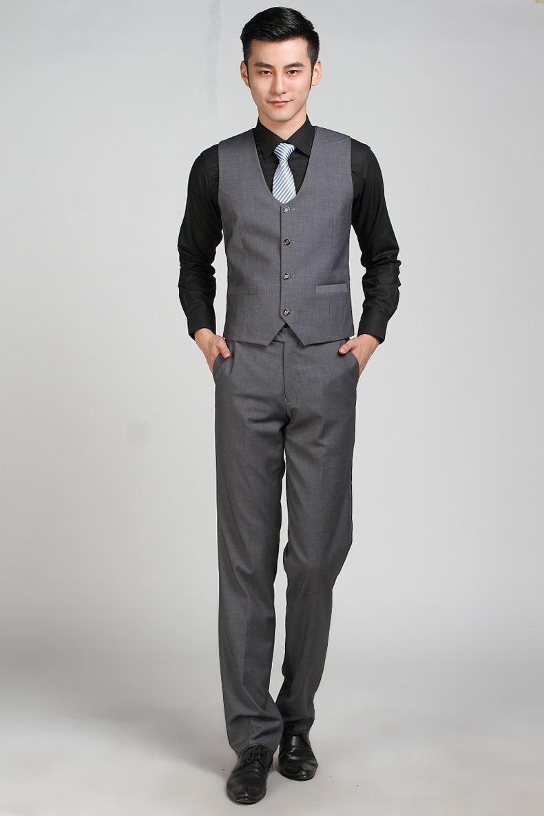 Aliexpress.com : Buy Formal Business Dark Grey Suit Vest For Men ...