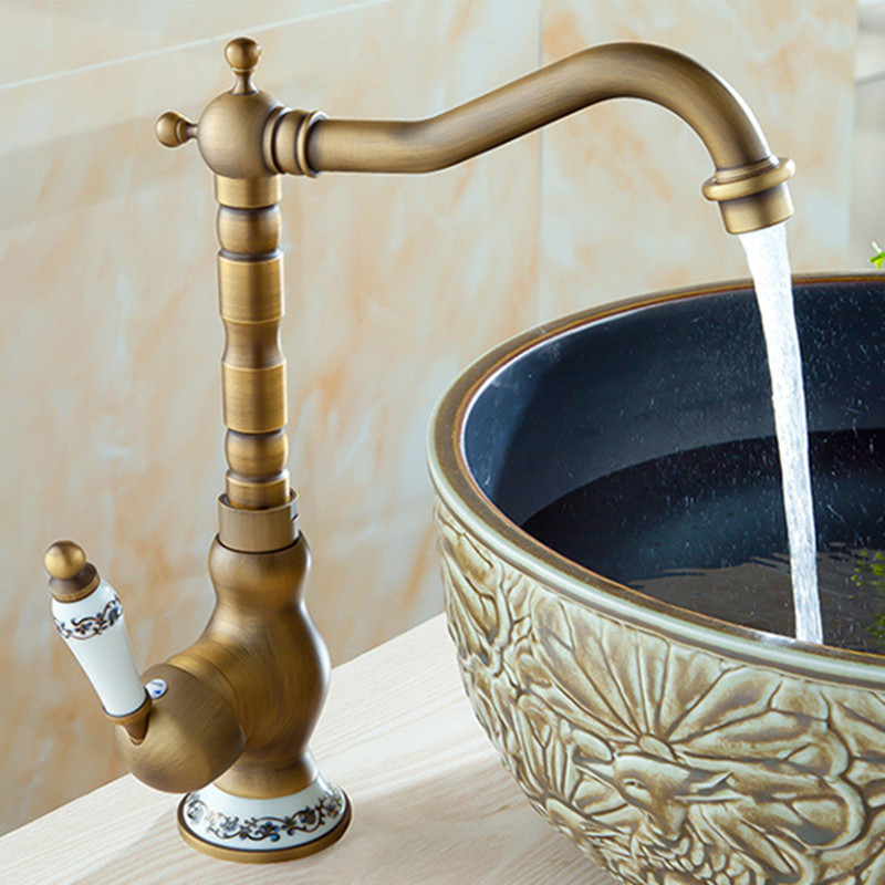 free shipping deck mounted solid brass kitchen sink faucet with bronze kitchen faucet of hot cold - Brass Kitchen Sink