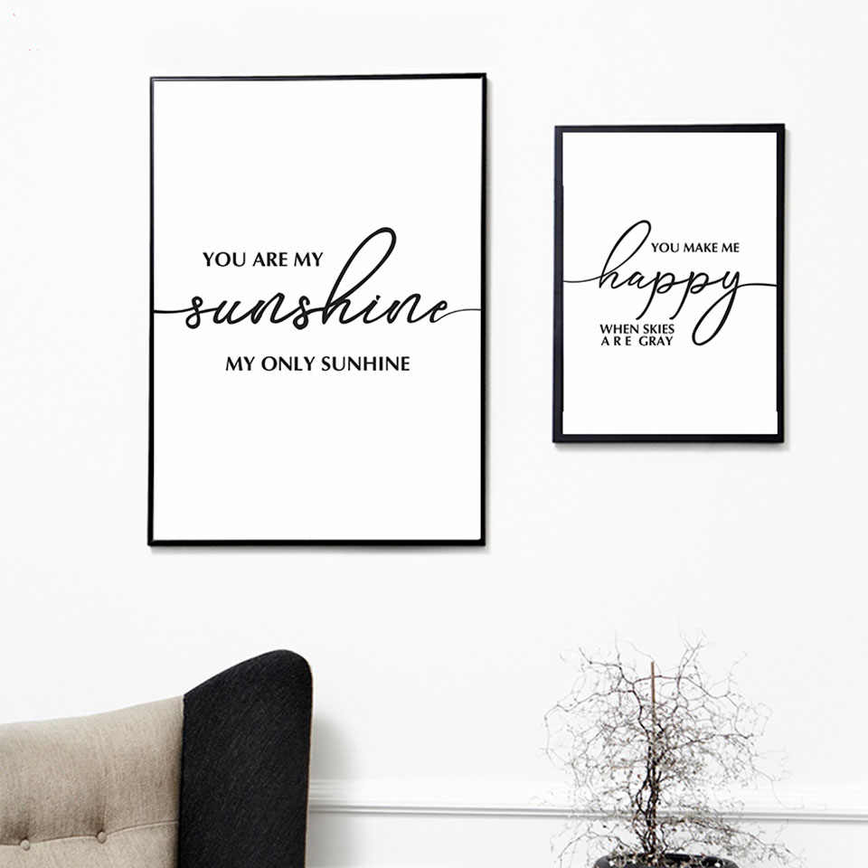 Painting Prints You Are My Happy Sunshine Curve Wall Art Quote Nordic Poster Canvas Picture Modern Library Living Room Decor
