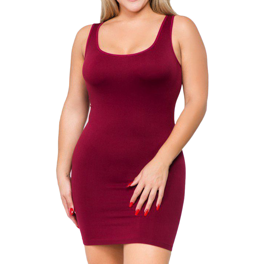 Sexy Plus size Bodycon dresses for women 4xl 5xl 6xl party elegant midi O-neck Solid Color Sleeveless