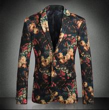 Flower Printed Blazer Men 2018 New Arrival Slim Fit Two Button Casual Blazers Brand Clothing Fashion Vyriška švarkelis