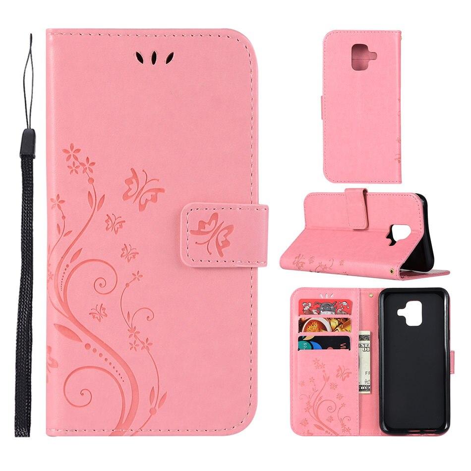 Fashion Phone Case For Samsung Galaxy A6S A8S S10 E J4 J6 A7 A9 J3 J7 2018 S9 S8 Plus Card Slot Cover Butterfly Fundas P04Z
