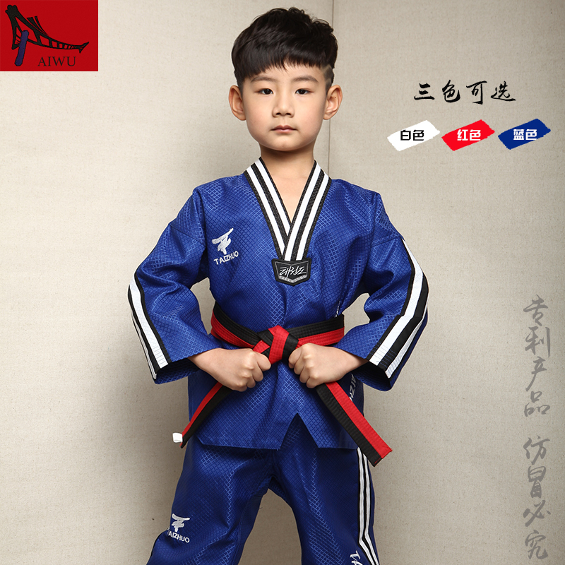 Hot Sale WTF Tae Kwon Do Dobok Clothes Child ITF Taekwondo Uniform  Size XXXS-M Red Blue White With Stripes Design