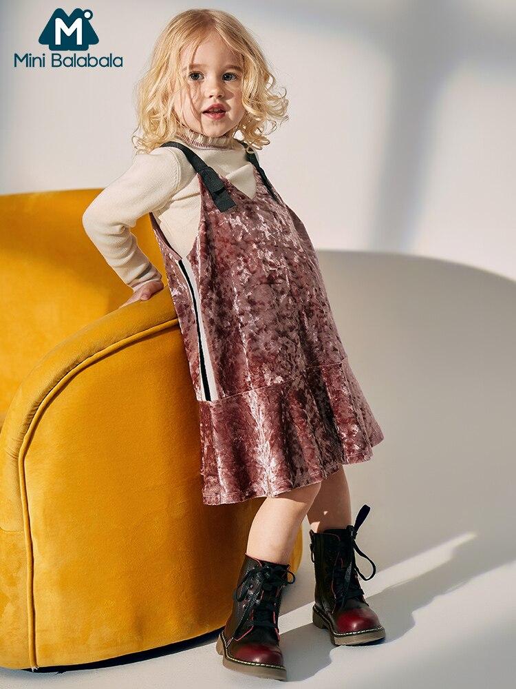 MiniBalabala Kids Girls Contrasted Velour Dress Velvet Dresses Sleeveless Party Dresses Children Toddler Girl Clothes Clothing