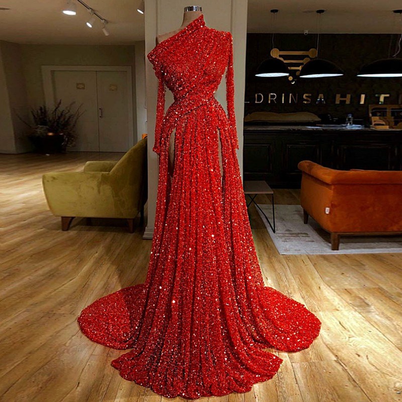 Red Sequined One-Shoulder Kaftan Evening Reflective Dresses Long Sleeves Dubai Pleat Formal Prom Party Dresses Long(China)