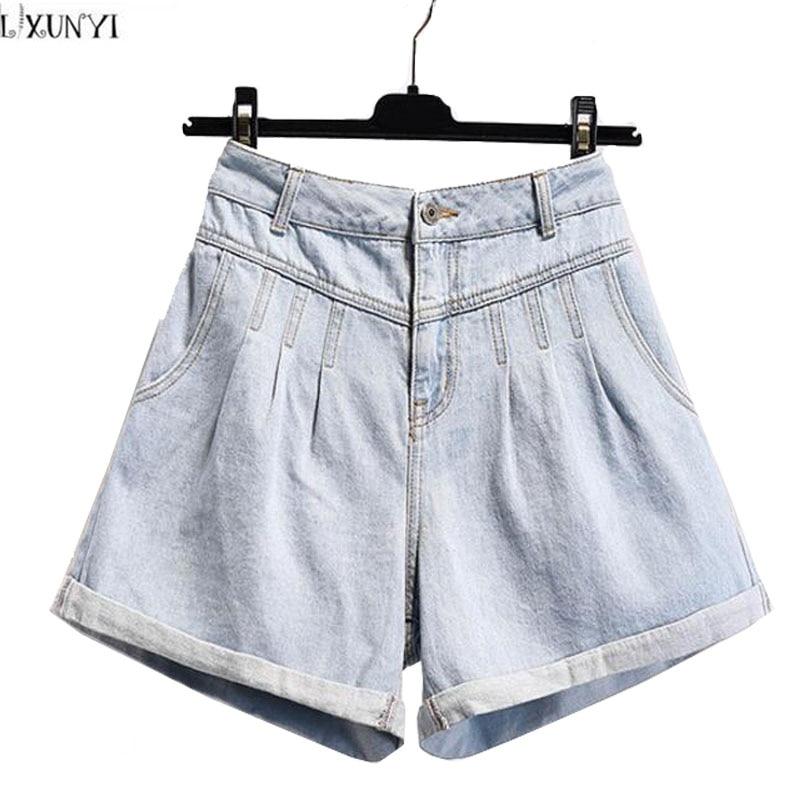 LXUNYI High Waisted Denim Shorts Women Summer 2017 New Arrival Plus Size Female Cuffs Wide leg Jeans Light Blue Casual Shorts l02 stylish retro high waisted denim jeans shorts light blue xl