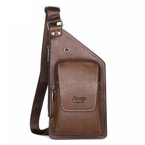 Image 5 - JEEP BULUO été sac hommes poitrine Pack unique bandoulière dos sacs en cuir voyage hommes sacs à bandoulière Vintage poitrine sac 633