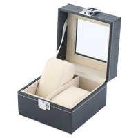 Caja de reloj de cuero PU con 2 rejillas, caja de exhibición de la pulsera de joyería, caja de almacenamiento para reloj, caja de regalo de lujo, caixa para reloj