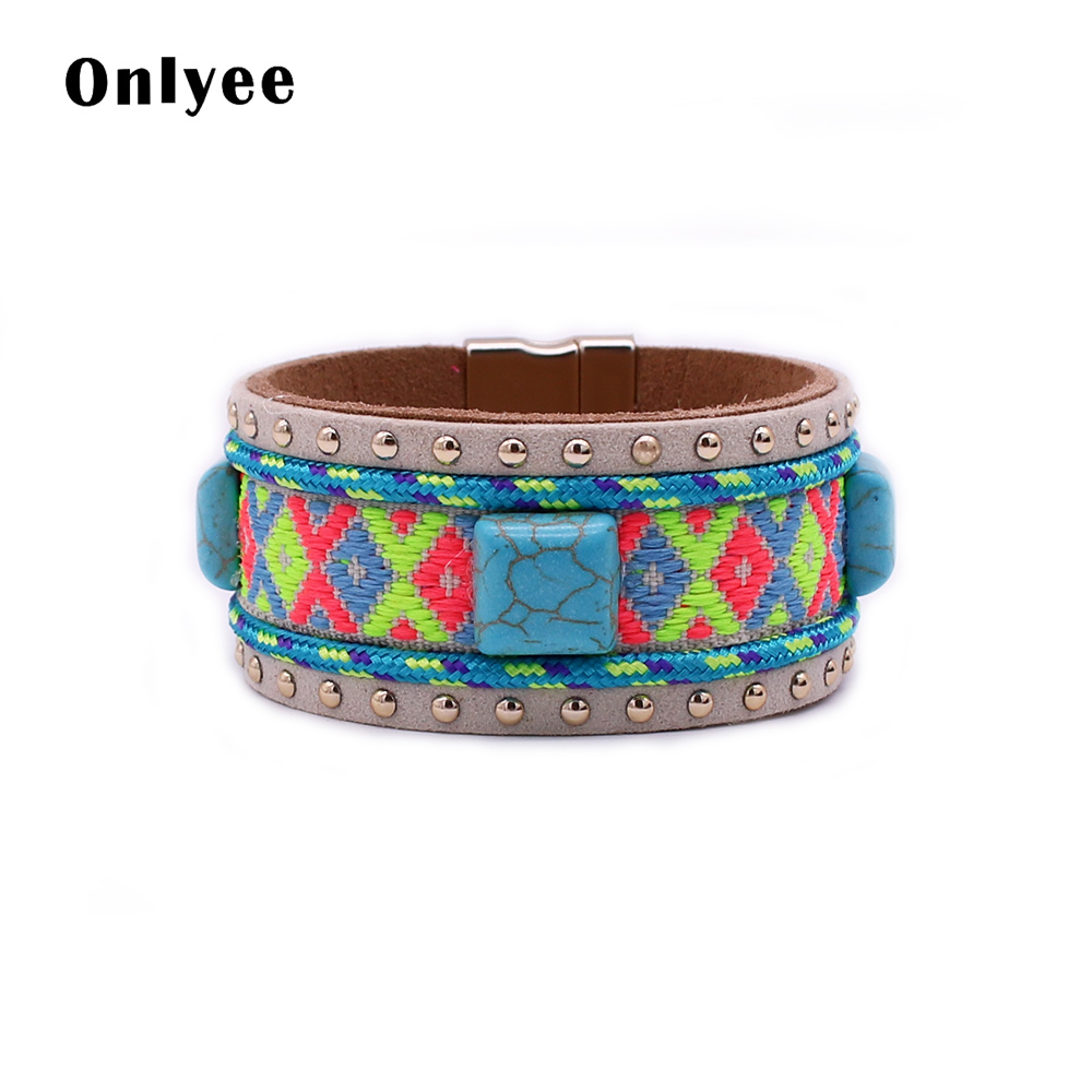 Onlyee Vintage leather bracelet color rope hand-woven geometric pattern bracelets for women natural stone magnetic buckle jewelr