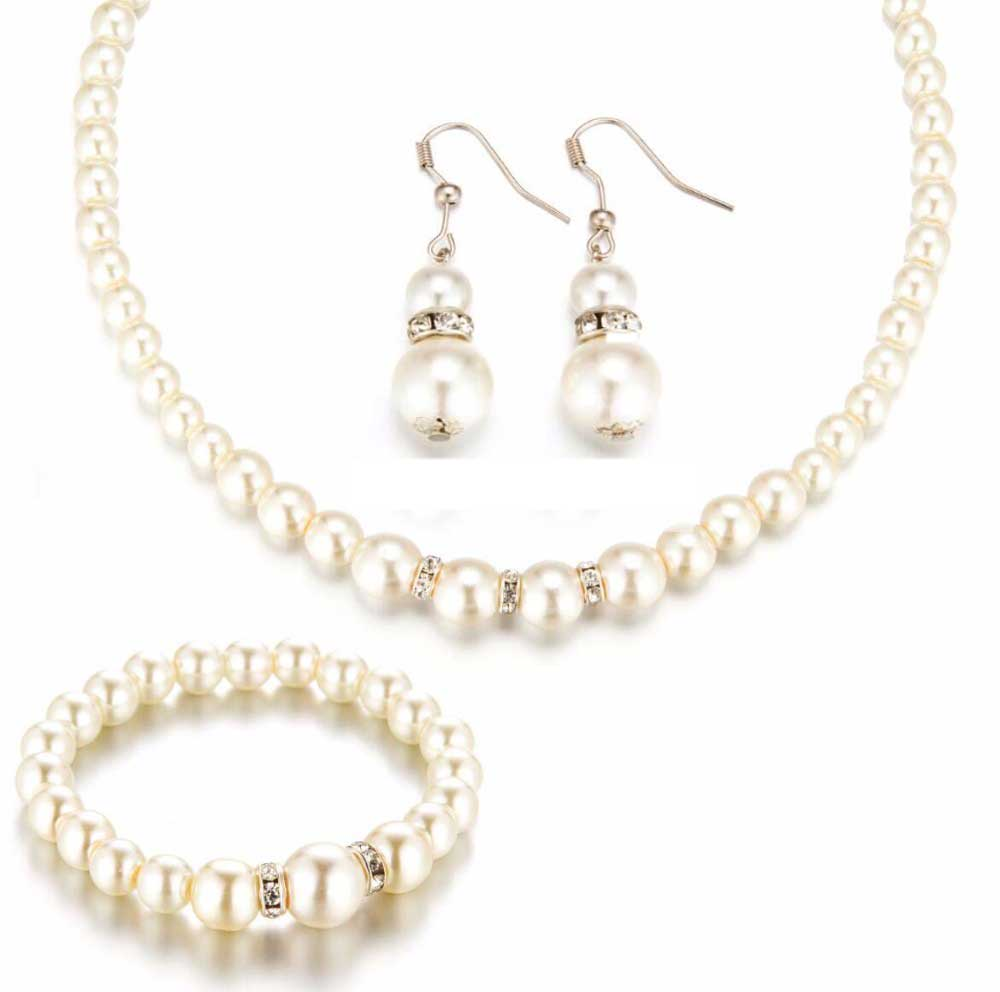 FAMSHIN 2016 New Simulated Pearl Wedding Jewelry Set Crystal Necklace Fine Jewelry Party Women Beads Bridal Earrings Accessories