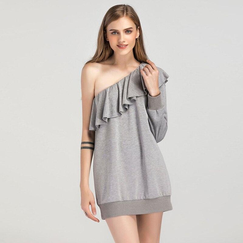 Sexy Backless Women Dress Cotton Black Long Sleeve One Shoulder Sweatshirt Vestido Autumn Spring Ladies Mini Ruffled Dresses
