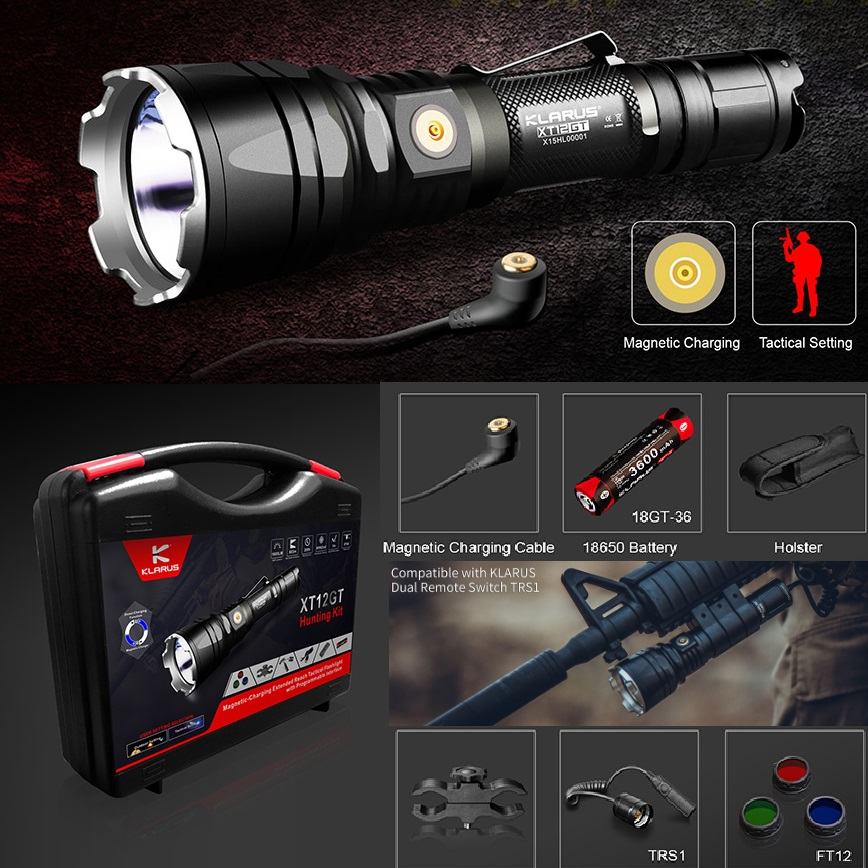 1 Set KLARUS XT12GT 1600 Lumens LED Flashlight CREE XM-L2-U2 4 Mode Durable Waterproof Tactical with18650 Battery
