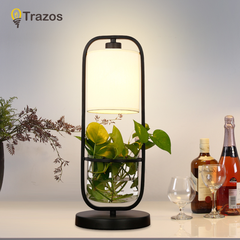 TRAZOS Art Deco Hydroponics flower Table Lamp 3 Color Change Touch Switch For Bedroom Bookcase Decor Night Light Creative Gift table decor color change best gift led night light