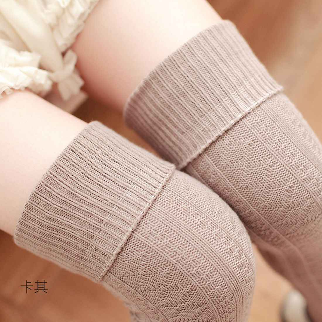 Beige สีน้ำตาลสีแดงสีเทาสีดำถุงเท้าเข่าผู้หญิงต้นขาสูงถุงน่องถุงน่อง 2019 แฟชั่นเซ็กซี่ถุงเท้ายาวฝ้ายฤดูหนาว medias