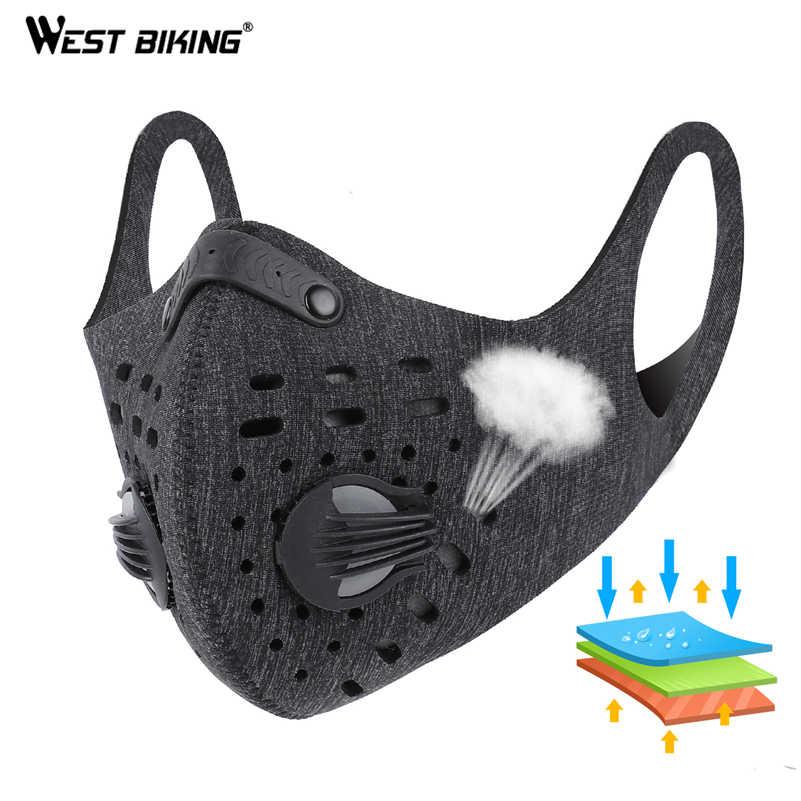 WEST BIKING Ciclismo Esporte Máscara Facial Máscara Formação N95 PM2.5 Anti-poluição Execução Máscara Máscara de Carvão Ativado com Filtro Lavável