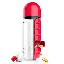 2 Farben Kombinieren Täglichen Pill Box Organizer Mit Wasser Flasche Wöchentlich Sieben Fächer Mit Trinkflasche Einfachen Transport