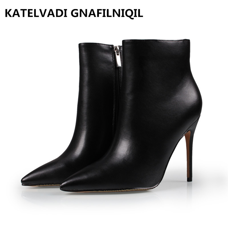 Big Size 34-43 Shoes Woman Boots Winter High Heel Pointed Toe Fashion Sexy Ankle Winter Boots With Fur Black Ankle Boots FS-0112 big size 34 43 high heels ankle boots for women 2016 man made leather fur inside fashion knight sexy woman winter shoes