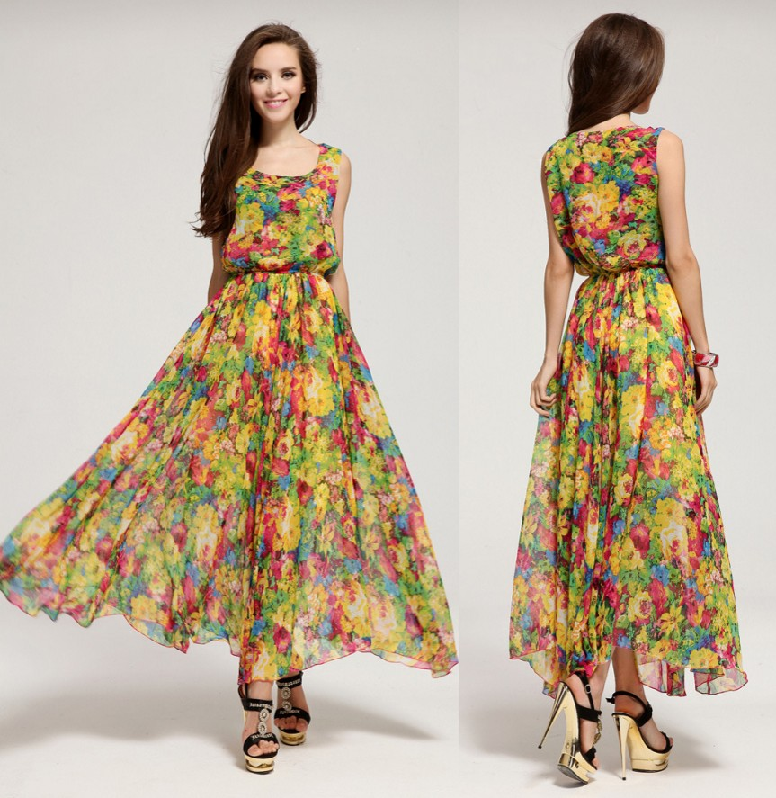 summer dress 2015 new bohemian big swing small floral chiffon ...