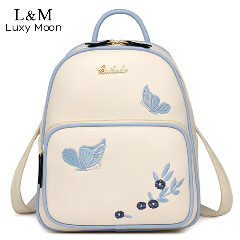 High Quality Embroidery Butterfly Backpacks For Teenage Girls School Bags College Leather Rucksack Fashion Women Backpack XA110HHigh Quality Embroidery Butterfly Backpacks For Teenage Girls School Bags College Leather Rucksack Fashion Women Backpack XA110H