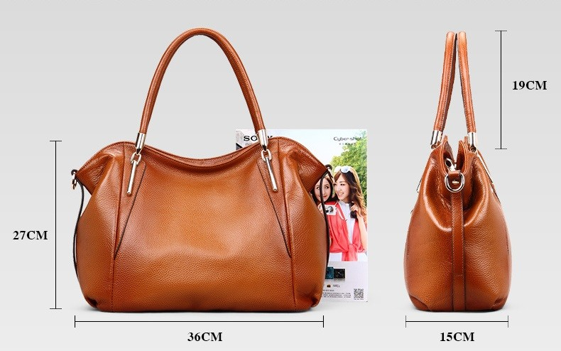 Vintage Women's Handbags Soft Genuine Leather Tote Crossbody Bag High Quality Cow Leather Shoulder Bags Female Brown Hand Bag 2