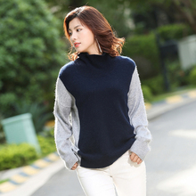 New winter women thick Cashmere turtleneck female sleeve head Korean Short loose stitching knitted patchwork sweater