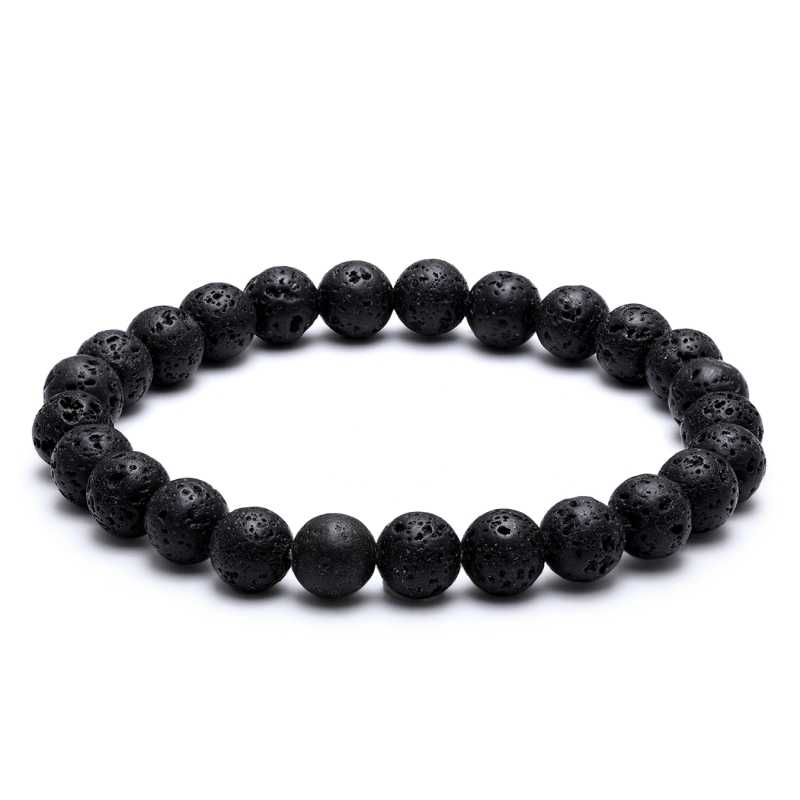 Classic Natural Stone Bead Bracelet Black 8mm Volcanic Stone Men Friendship Bracelet Distance Couple Bracelets For Women Jewelry
