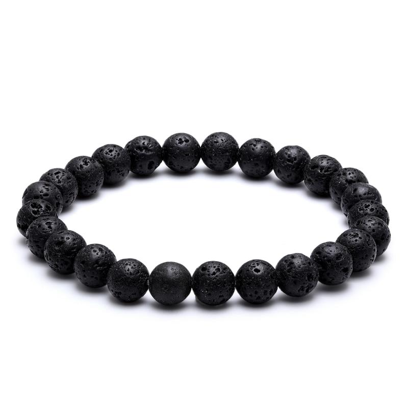 Мужской классический браслет из натурального камня, черный браслет из 8 мм вулканического камня, браслеты для пар на расстоянии, ювелирные и...