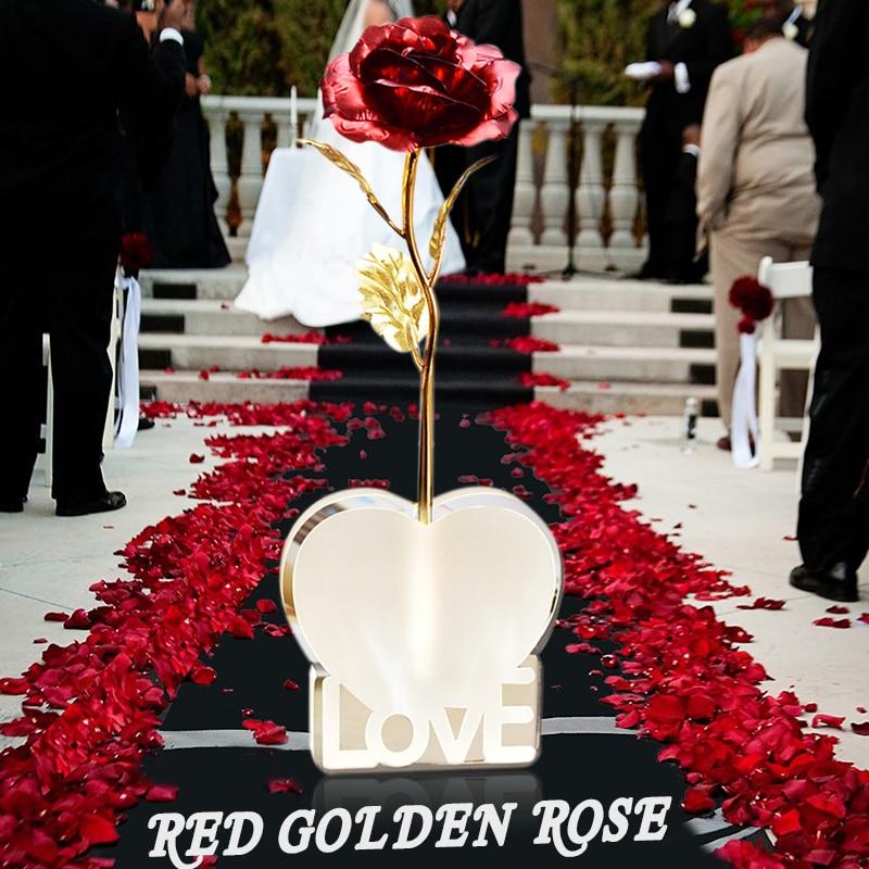 ВР Мајка Дан Поклон кутија Златна фолија Ружа са Љубавном постољем Црвена Уметна ружа Цветна декорација Почетна Рођендански поклон Дроп Схиппинг