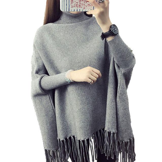 b70159cf8e Turtleneck sweater women pullover long section batslleve shirt loose shawl  cloak autumn sweater coat Women outwear tassel sueter