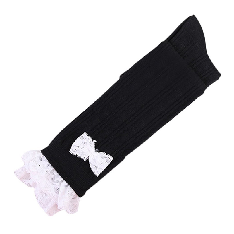 Rose Wind Store New Lace Bow Women's Tie-Up Top Knee-length Cotton Warm Stockings (Black)