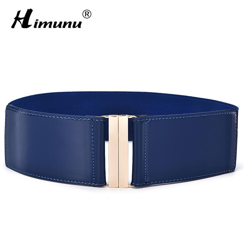 [Himunu] Fashion Brand Cowskin   Belts   For Women Elastic Cummerbund Patent Leather Woman   Belt   Leather Wide Women's   Belts   6 Color