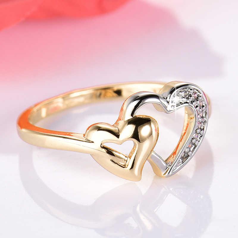 GULICX Luxe Exquisite Double Heart Shaped Ring Goud-Kleur CZ Ringen voor Vrouwen Mode Kleur Aneis De Ouro Zirconia sieraden