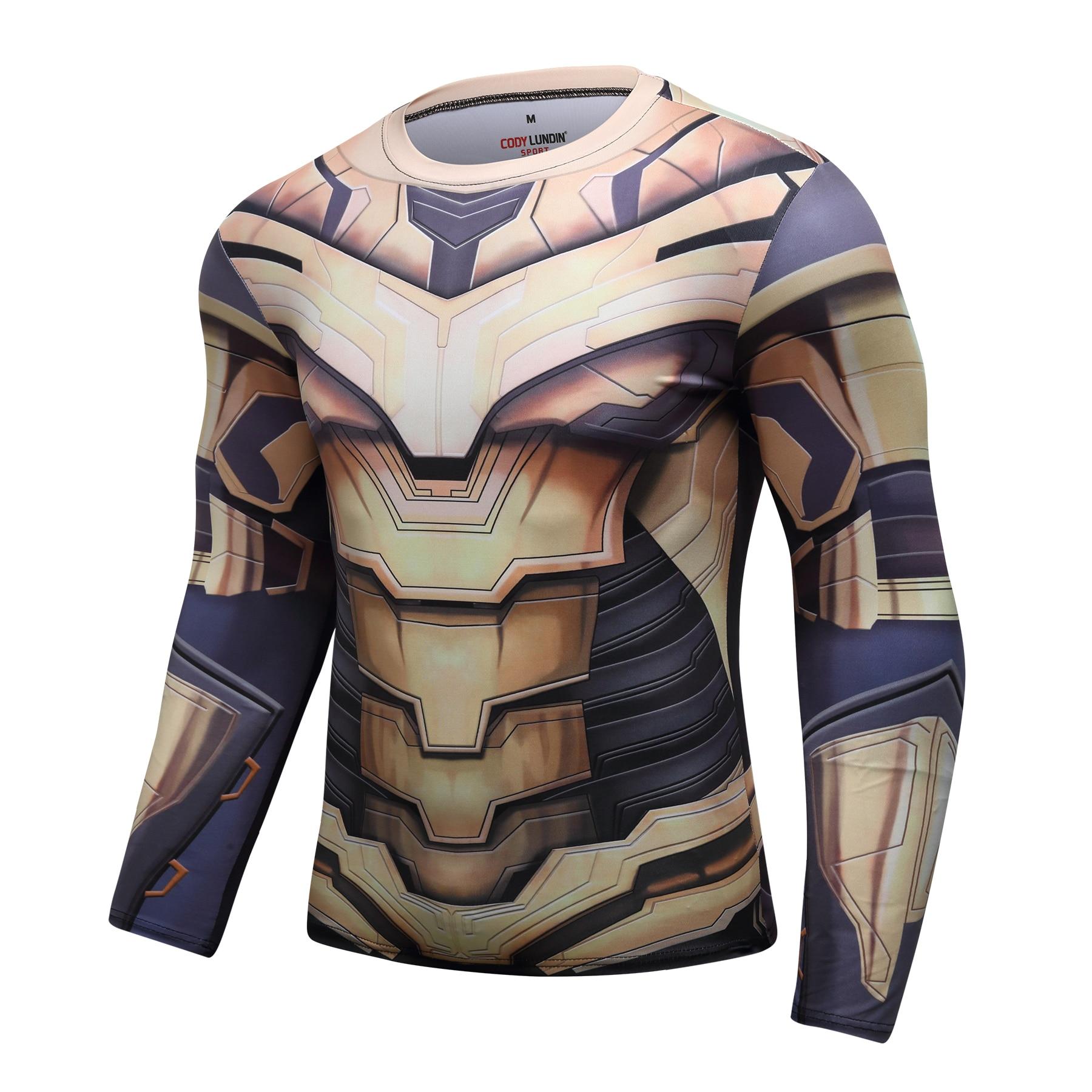 Endgame 4 Vingadores Thanos 3D Impresso camisetas Homens Camisa De Compressão Cosplay Traje Capitão América Manga Comprida Tops Para O Sexo Masculino