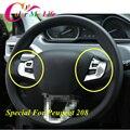 2 Шт./компл. ABS Chrome Руль Украшения Блестки Крышка Рулевого Колеса Накладка Наклейка для Peugeot 208 2014 2015 2016 Наклейки