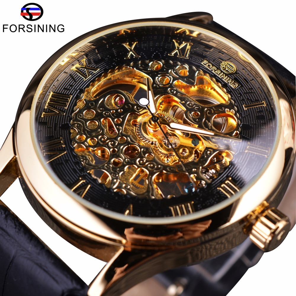 Forsining Retro Classic Design Roman Number Dial Transparent Case Skeleton Mechanical Watch Mens Watches Top Brand Luxury Clcok vintage cool black hollow case with roman number dial skeleton steampunk mechanical pocket watch with chain to men women
