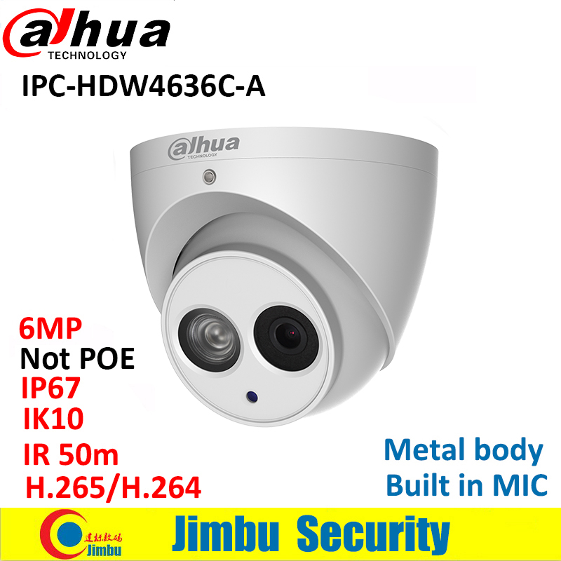 Dahua IP Camera IPC-HDW4636C-A 6MP Metal body H.265 Built-in MIC IR50m IP67 IK10 Dome Camera Not POE Smart Detection