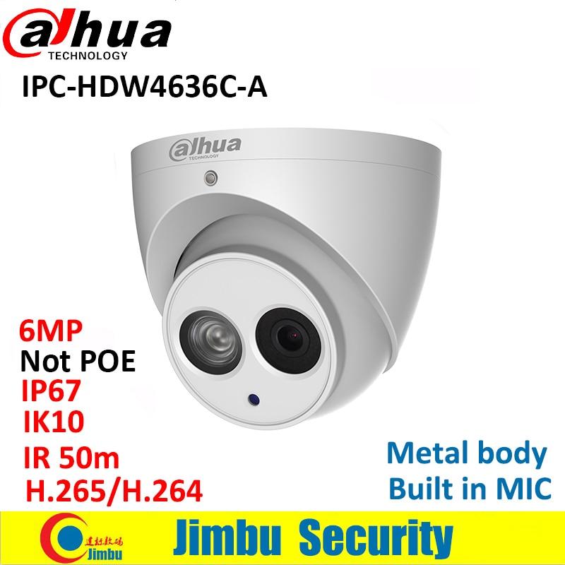 Dahua IP Camera IPC-HDW4636C-A 6MP Metal body H.265 Built-in MIC IR50m IP67 IK10 Dome Camera Not POE Smart Detection