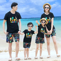 father son matching clothes family look mother and daughter clothes brother sister twins black t shirt casual print short pants
