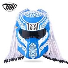 Синий Хищник карбоновое волокно мото rcycle шлем Железный полный лицо Мото шлем точка сертификация высокое качество шлем мото руля