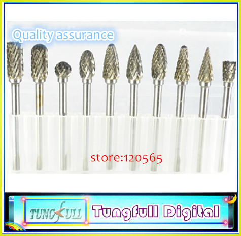"New 10pc 1/8 inch"" Shank Tungsten Carbide Milling Cutter Rotary Tool Burr Double Diamond Cut Dremel Tools Electric Grinding"""
