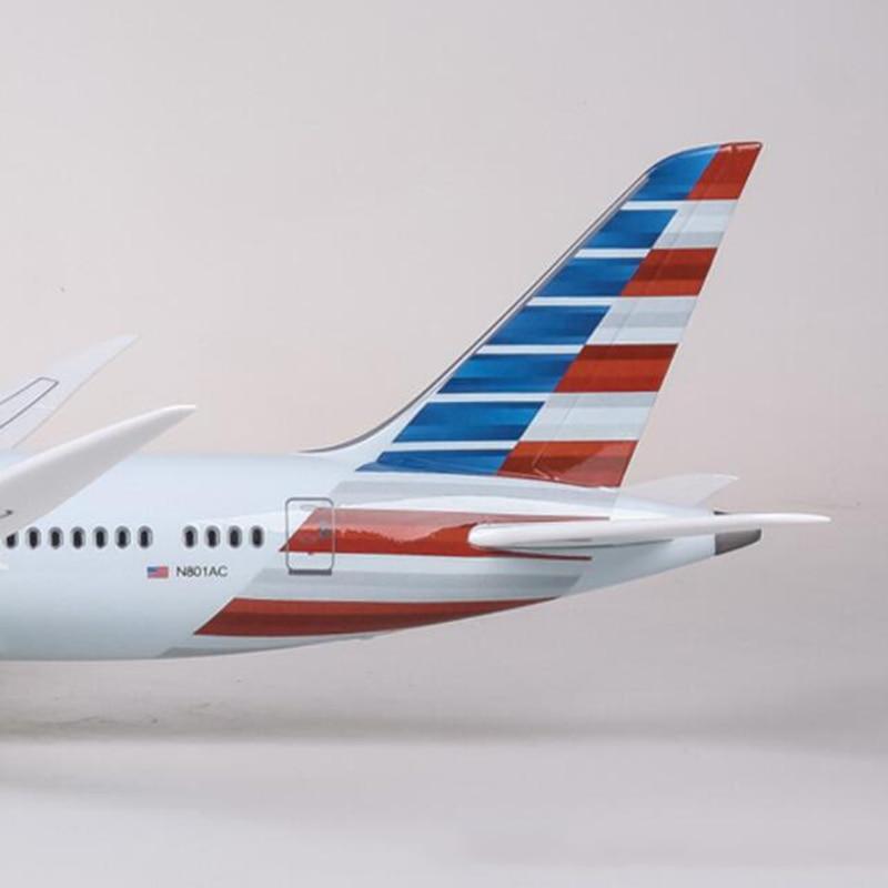 1/130 Bilancia 47 centimetri Aereo Boeing B787 Dreamliner Modello W Luce e la Ruota Aeromobili American Airlines Diecast Resina di Plastica Per Bambini regalo - 6