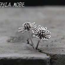 Fyla Mode Real 925 Sterling Silver Earrings Vintage Thai Daisy Flower Pure Handmade Bangkok Silver Jewellery Boutique 8mm TYC183